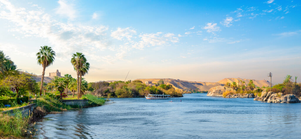 River Nile and boats at sunset in Aswan.