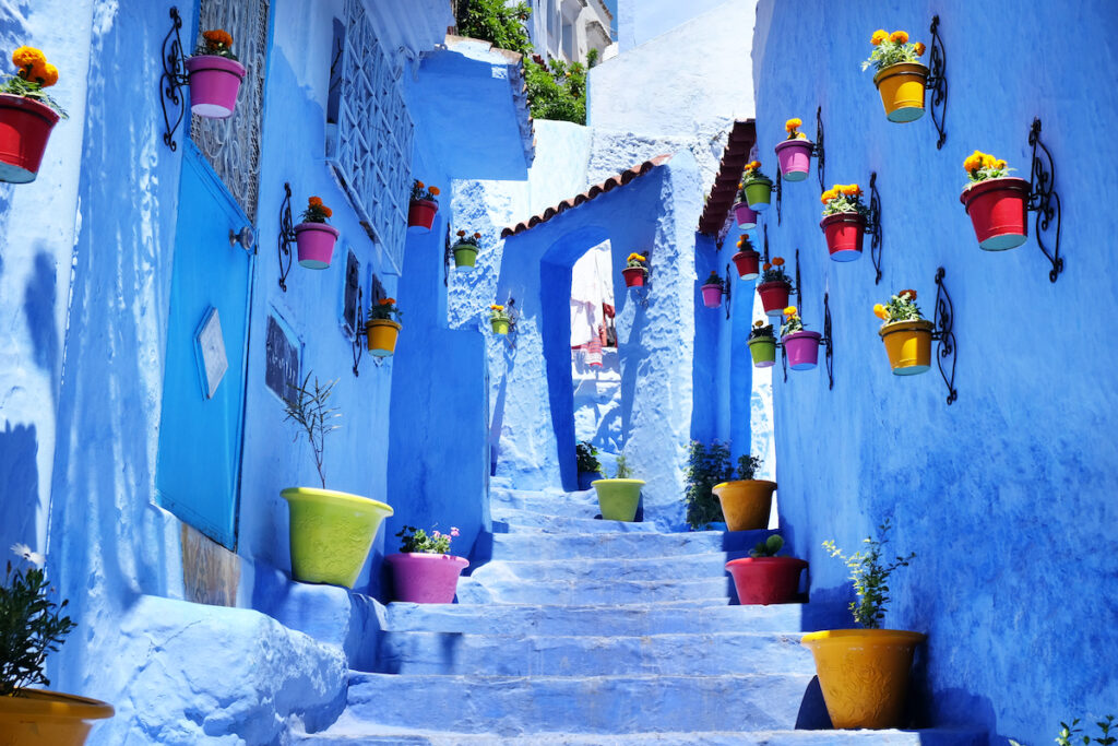 Bright blue buildings in Chefchaouen.