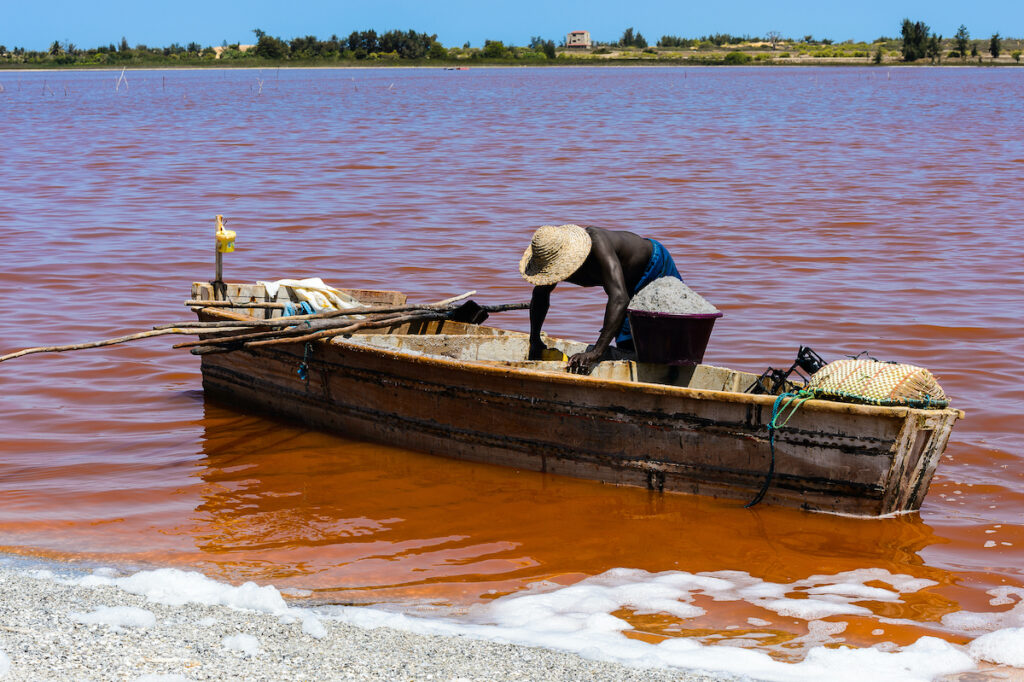 Boater on the Pink Lake in Senegal
