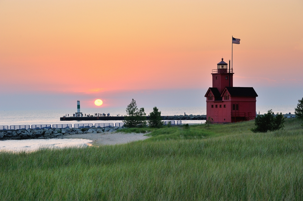 Holland Michigan Lighthouse sunset. Also known as Big Red.