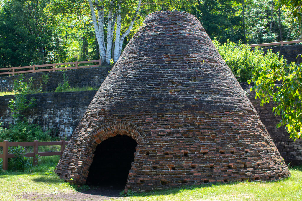 Fayette Historic State Park featuring history of iron smelting in the 19th century.