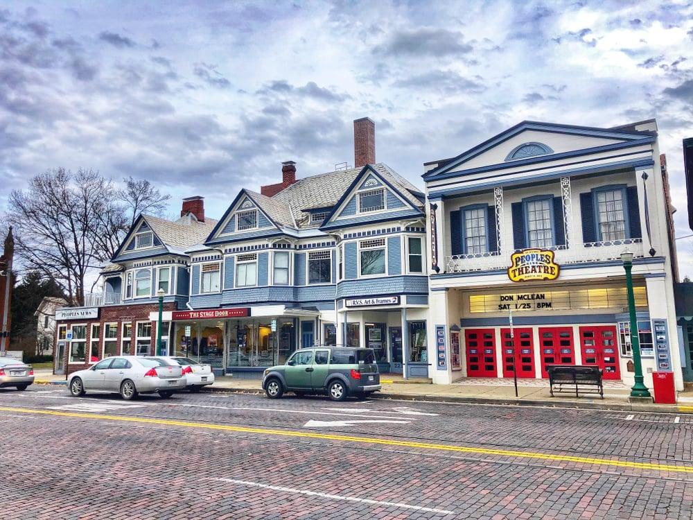 downtown of small town Marietta, Ohio