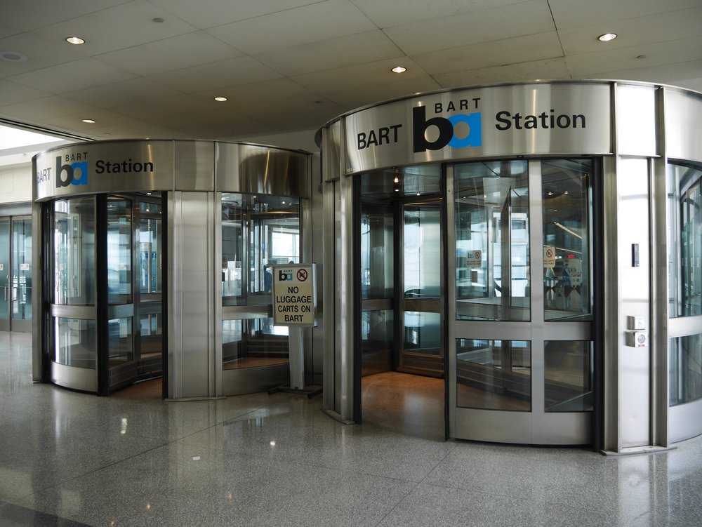 entrance to the BART station of SFO