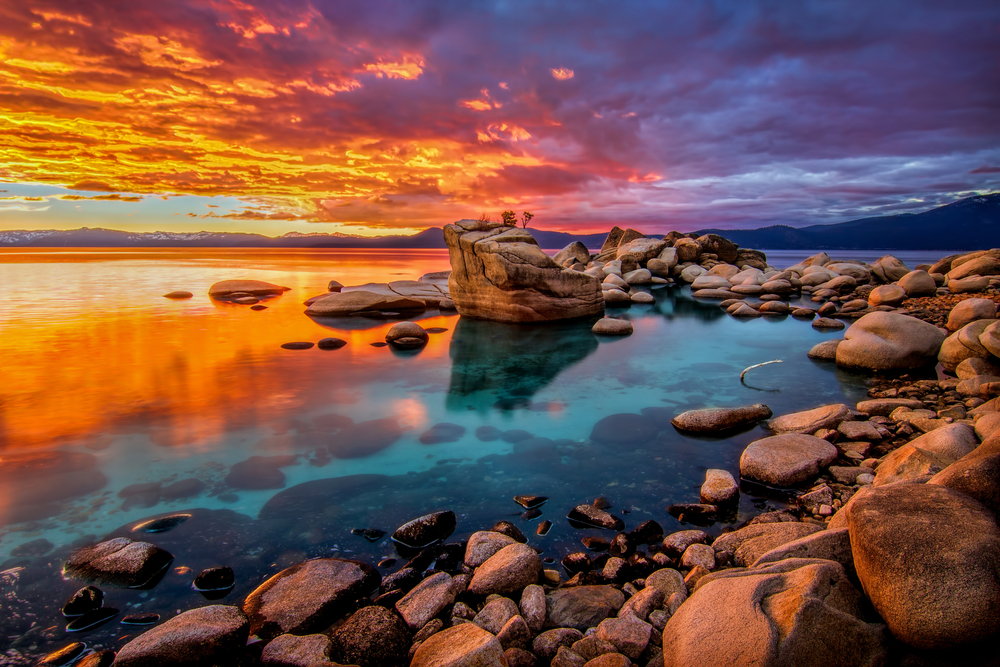 Candied Skies on the Shoreline of Lake Tahoe at Bonsai Rock