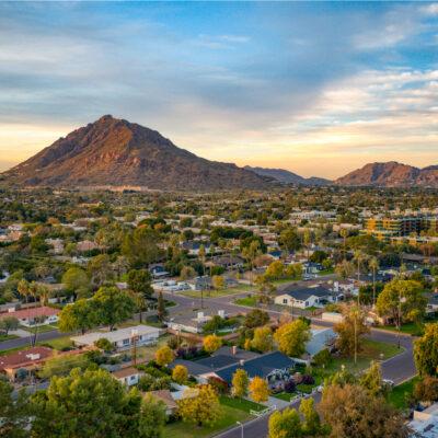 Urban sunset over downtown Scottsdale Arizona.