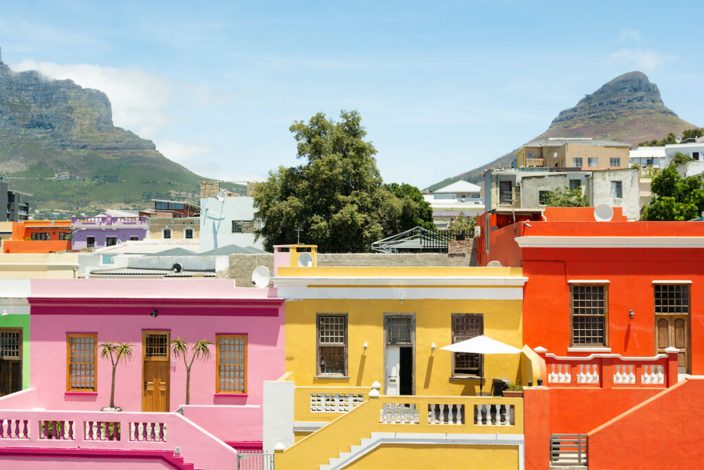 Colorful buildings in Cape Town
