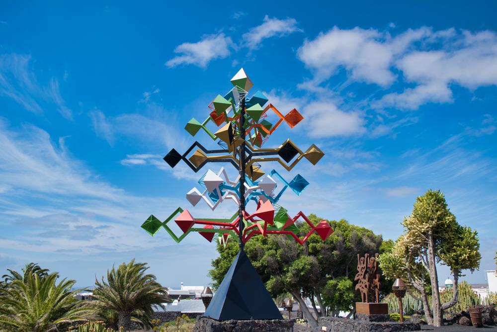 Colourful sculpture, Cesar Manrique Foundation, Canary Islands in Lanzarote, Spain.