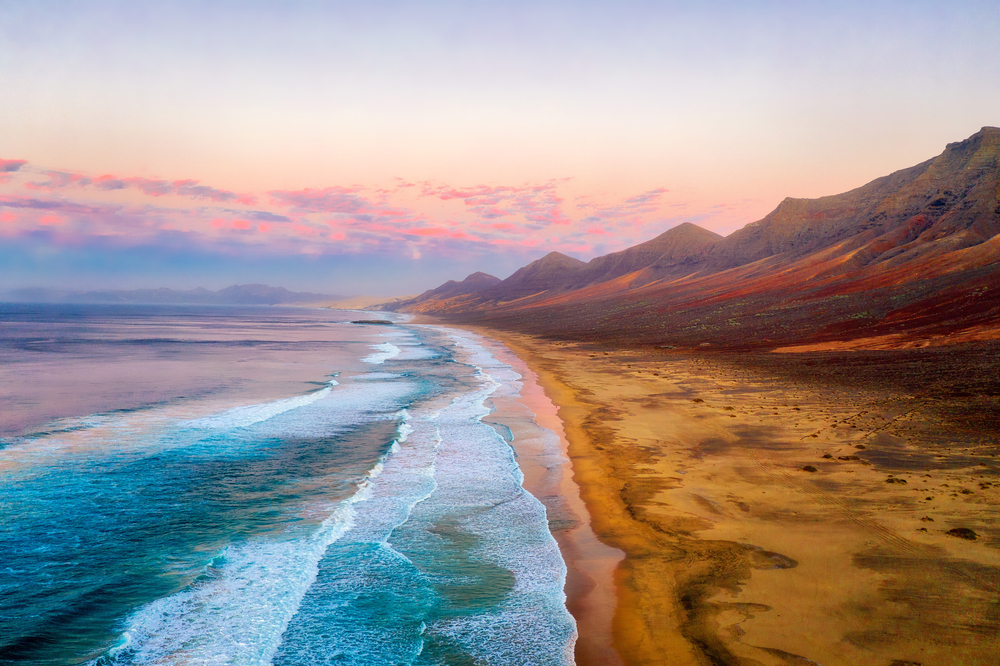 Cofete Beach on the Southern Tip of Fuerteventura during Sunset