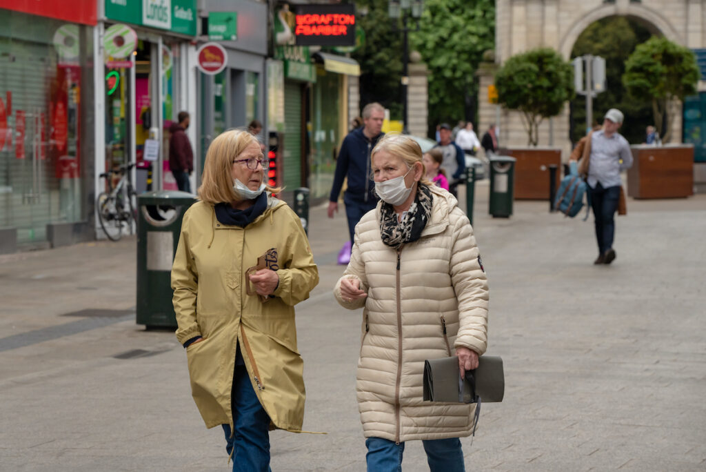 Women walking in Ireland during the COVID-19 pandemic.