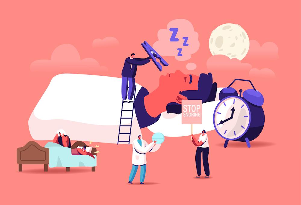 snoring solutions vector illustration