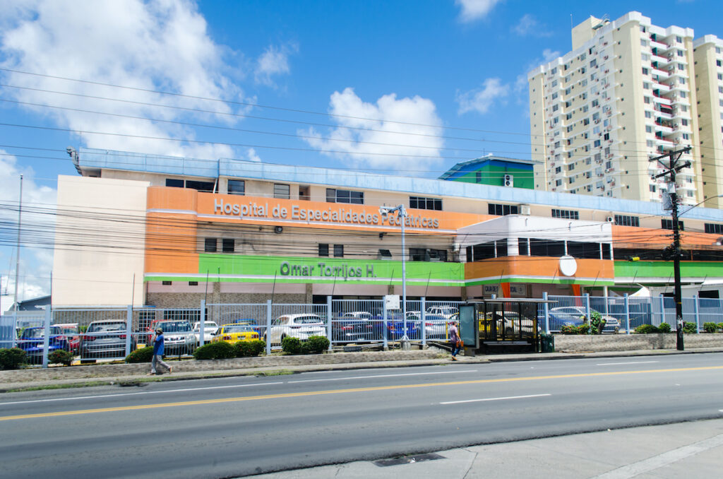 Facade of the Pediatric Specialty Hospital in Panama City.