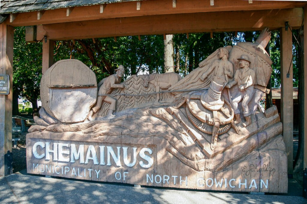 Welcome sculpture to Chemainus Vancouver Island.