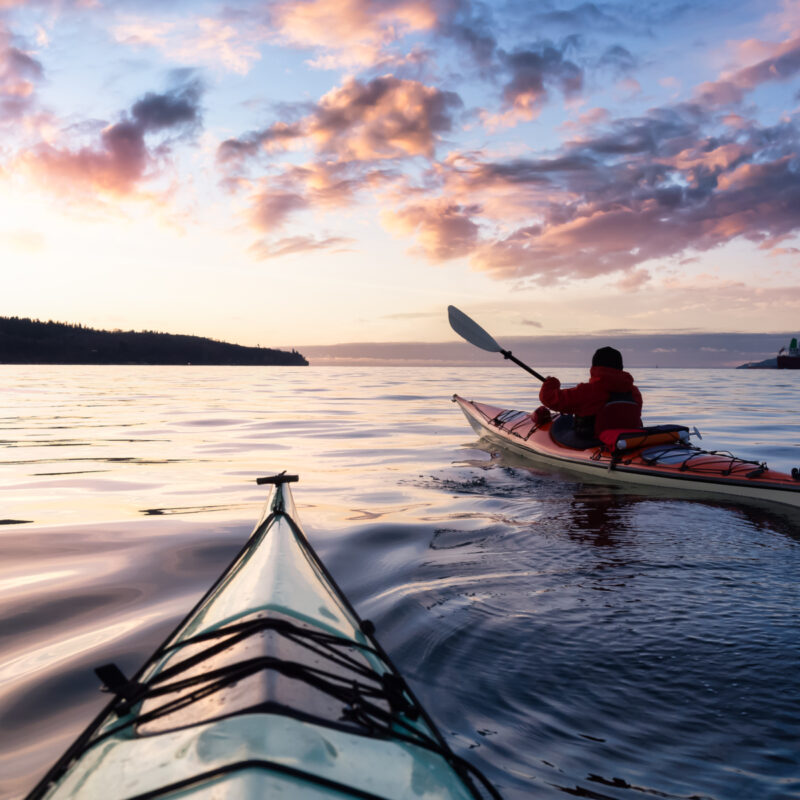 Canoeing in the Pacific Ocean.