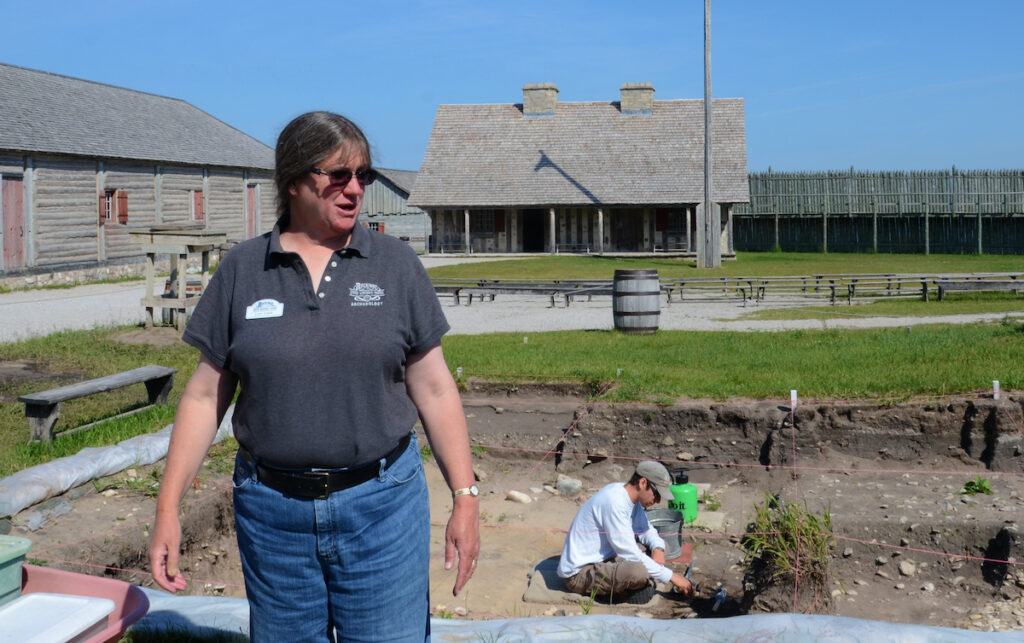 Lynn Evans, Curator of Archaelogy for Mackinac State Historic Parks, explains a current dig at Fort Michilimackinac in Mackinaw City, MI.