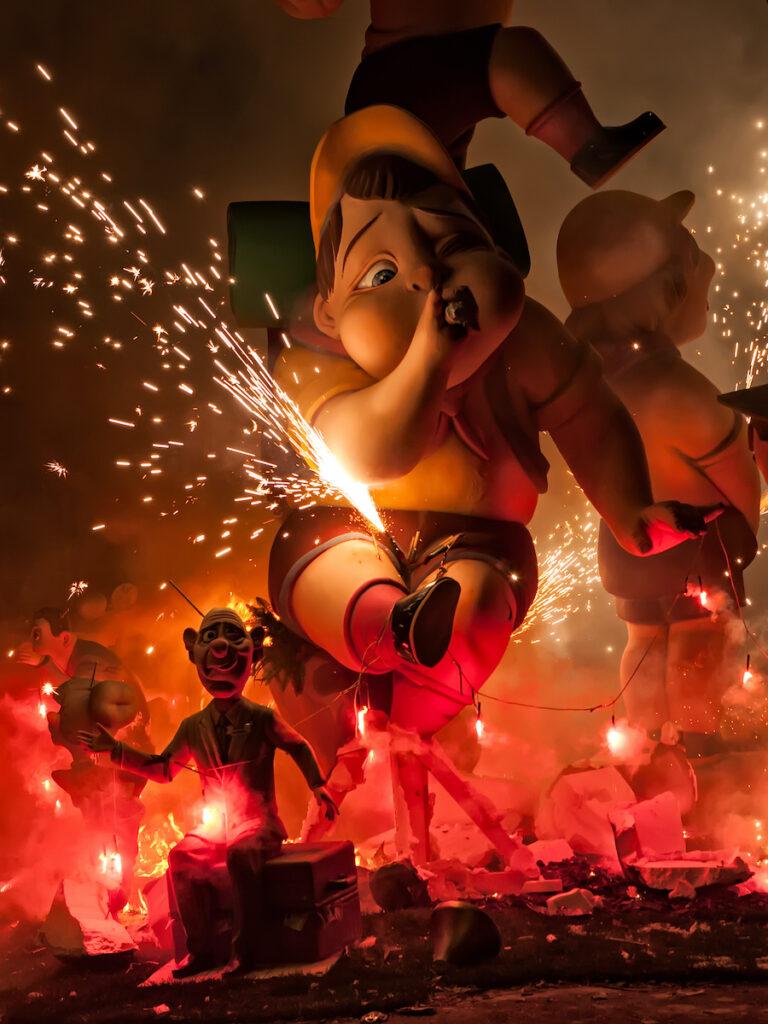 Valencia, Spain, fire festival.