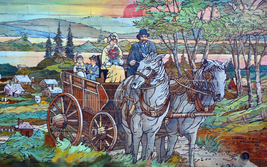Mural tell the story of Chemainus is a city on the east coast of Vancouver Island, British Columbia.