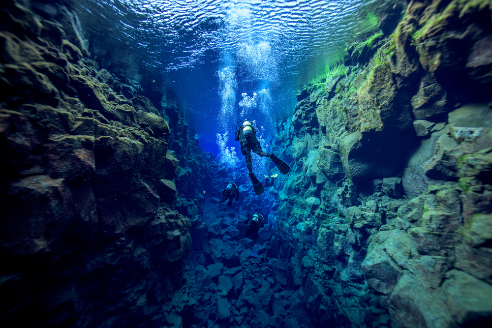 Dive between tectonic plates in Silfra, Iceland