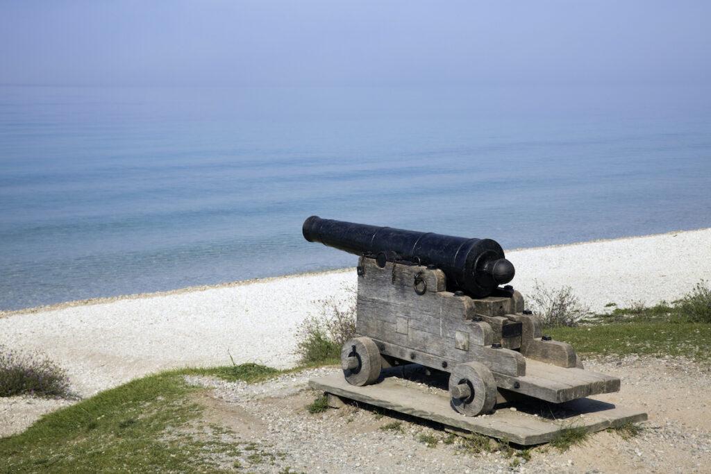 Cannon on the beach at Mackinac Island.
