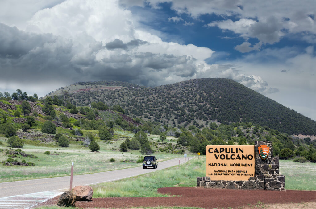 Entrance to Capulin Volcano National Monument in New Mexico.