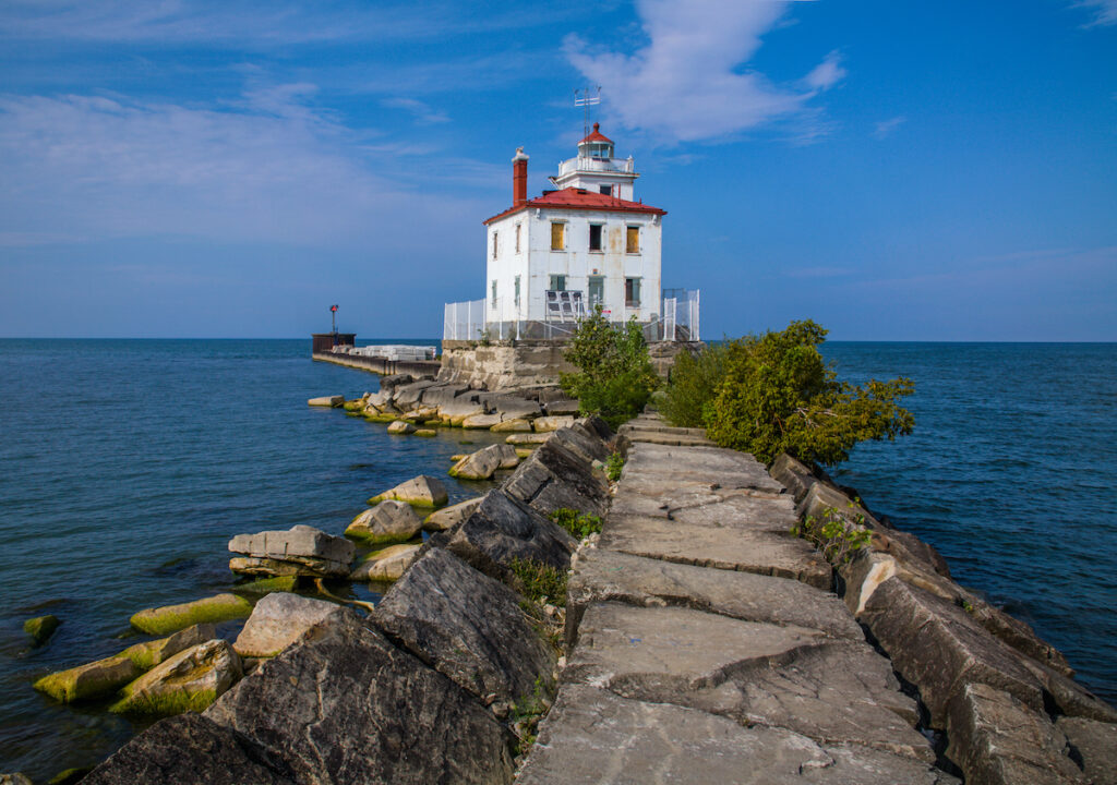 The Fairport Harbor West Breakwater Light on a beautiful day in Fairport Ohio.
