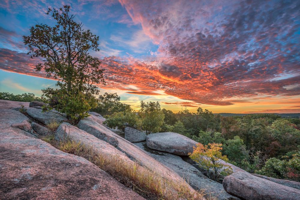 sunrise over Elephant Rocks in Missouri