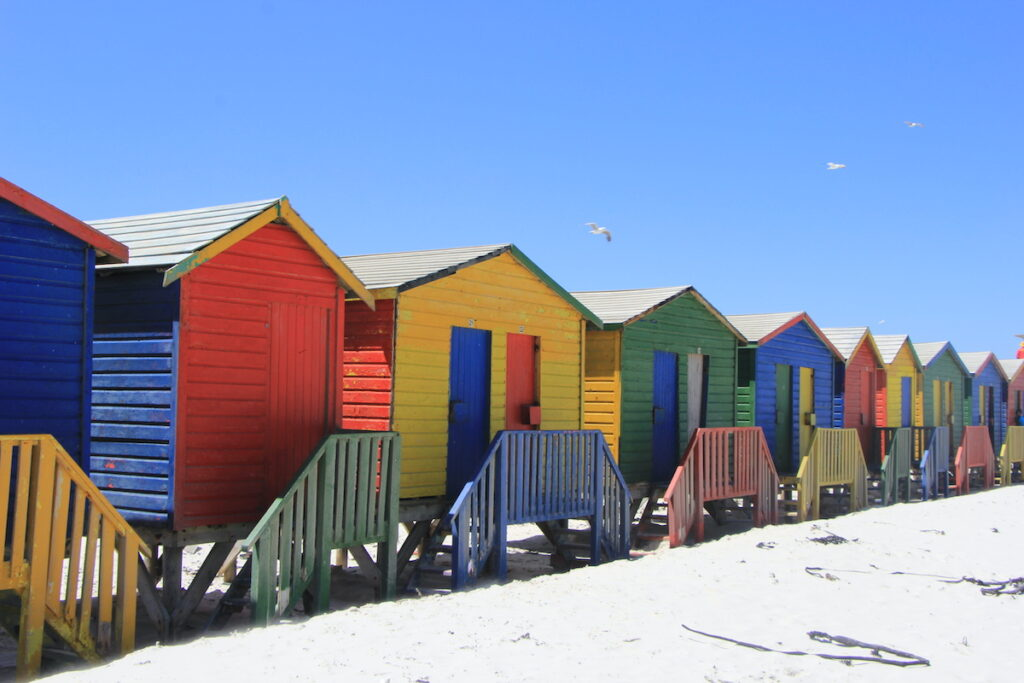 Brightly colored bathing boxes