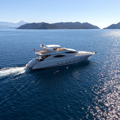 Aerial view of luxury yacht charter