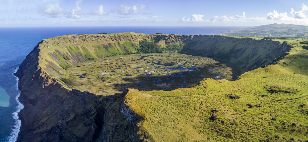 Aerial view of Rano Kau volcano on Easter Island, Chile