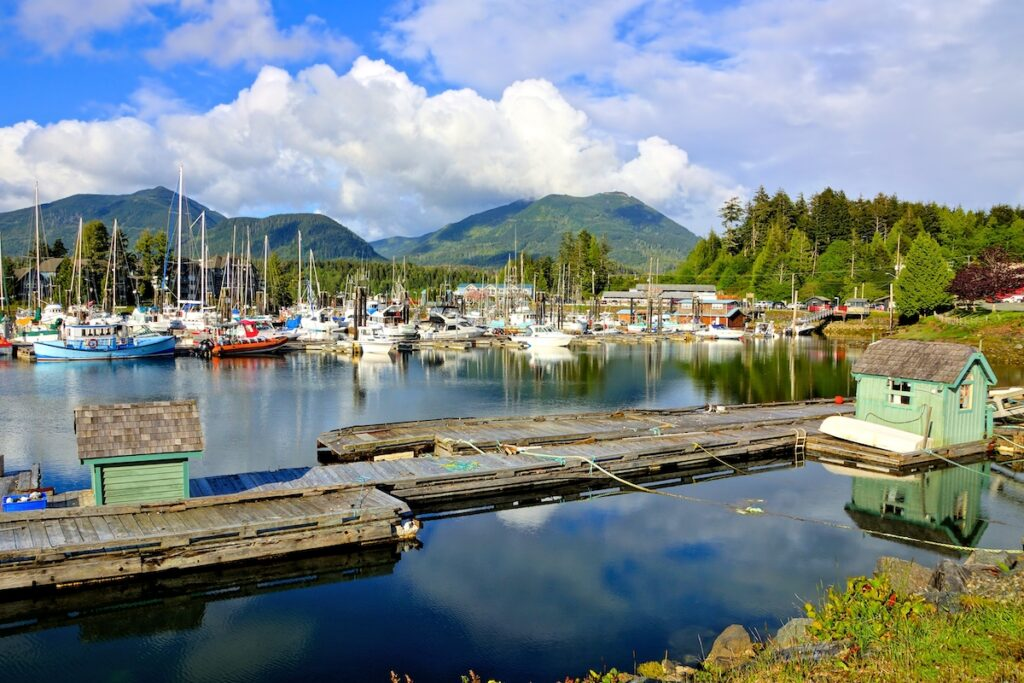 Beautiful Ucluelet Harbour, Pacific Coast, Vancouver Island, BC, Canada.