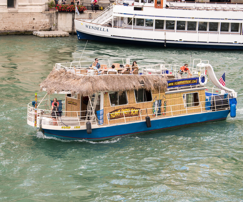 Huge Tiki-themed party boat on Lake Michigan in Chicago