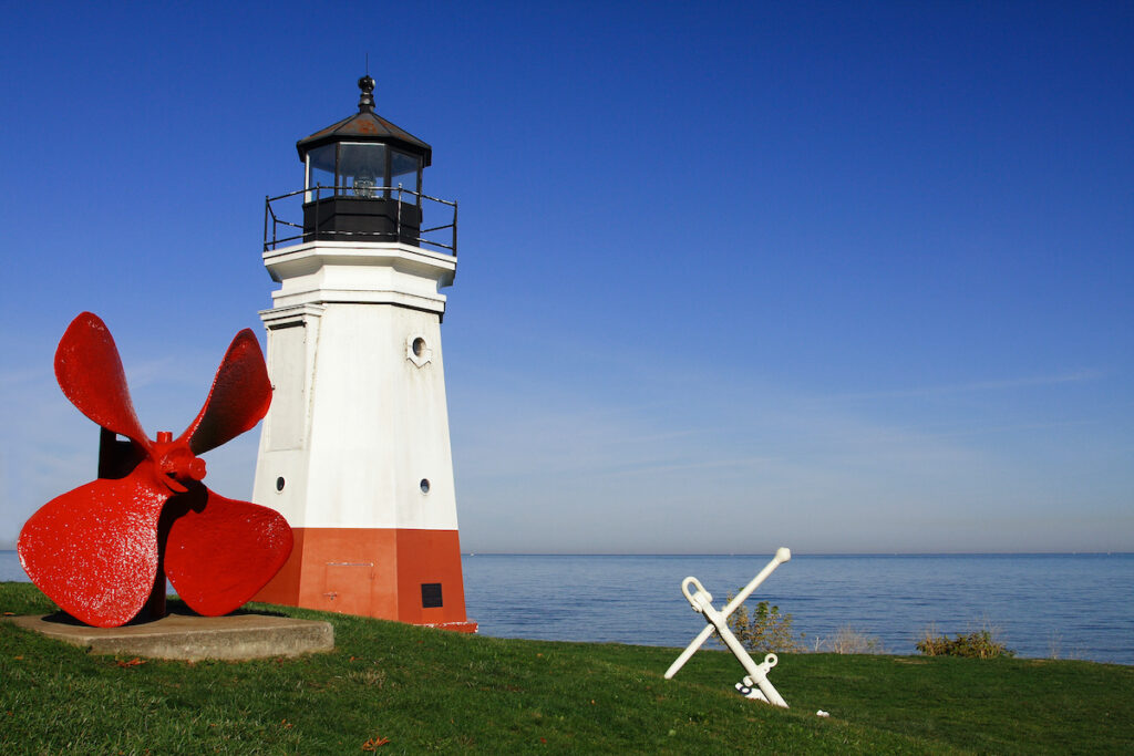 Vermilion lighthouse on the shores of Lake Erie, Ohio.