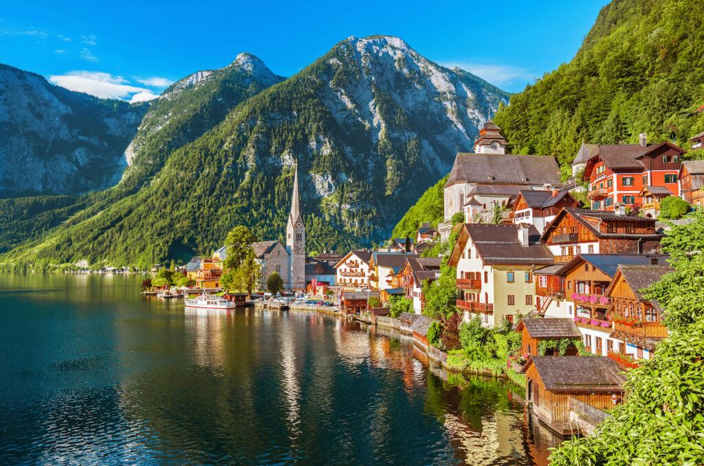 Hallstatt mountain village in the Austrian Alps at beautiful light in summer.