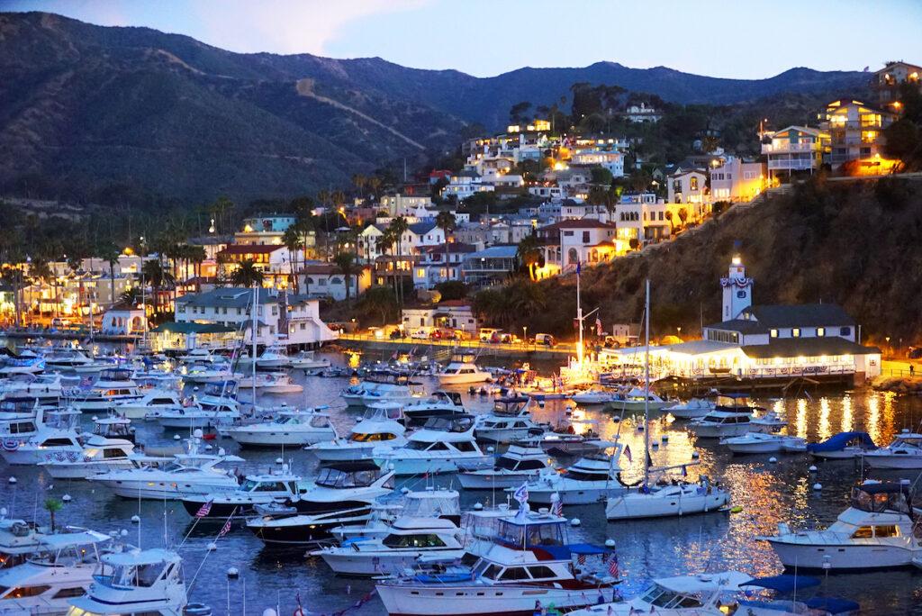 Twilight at Avalon Harbor, Catalina Island.