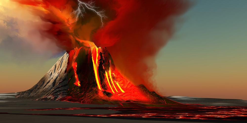 Kilauea volcano erupting at Volcano National Park in Big Island, Hawaii