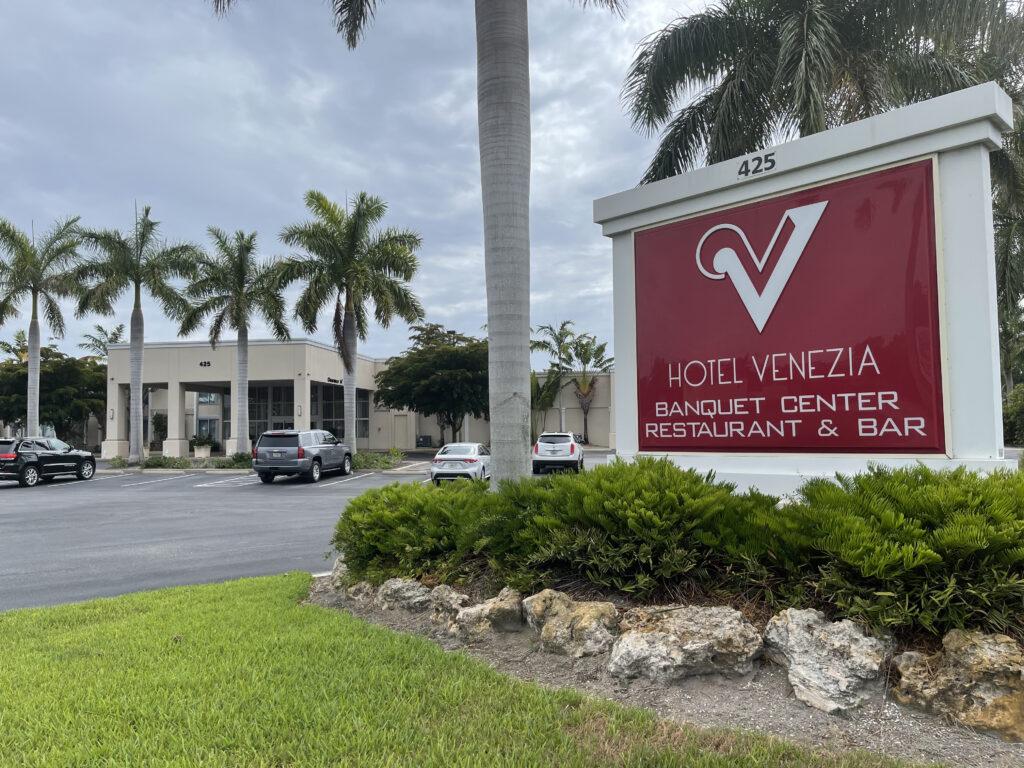 Venezia Hotel and sign, Venice, FL