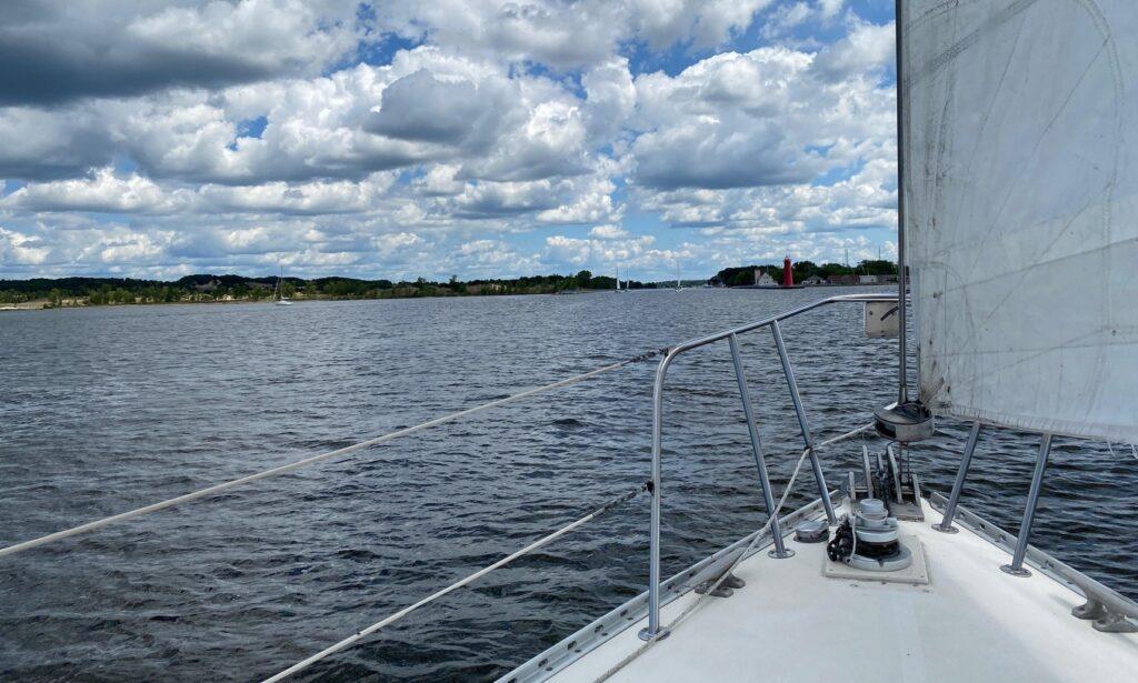 view from GetMyBoat sailboat rental Lake Michigan