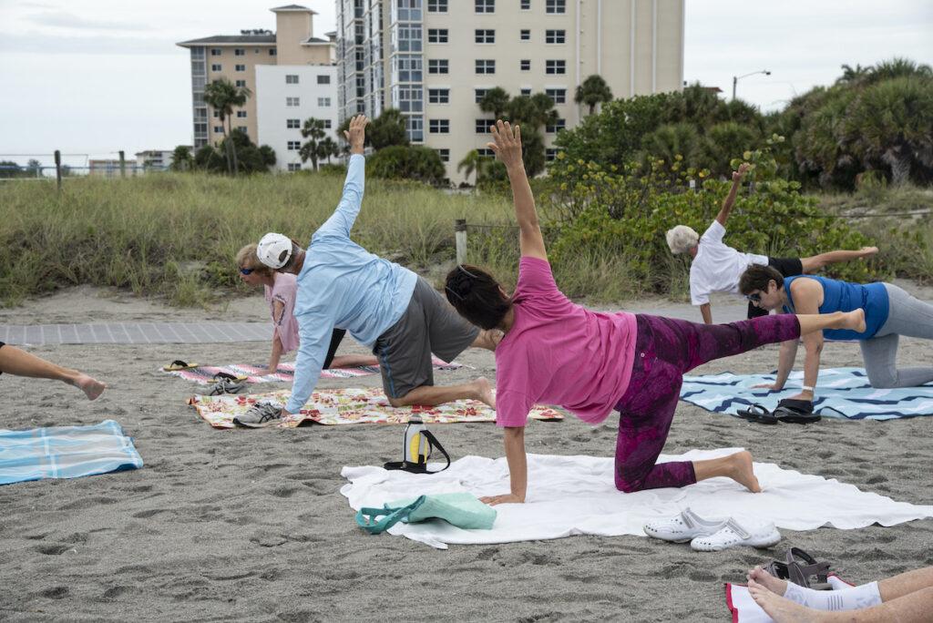 Yoga class, Venice Beach, FL.