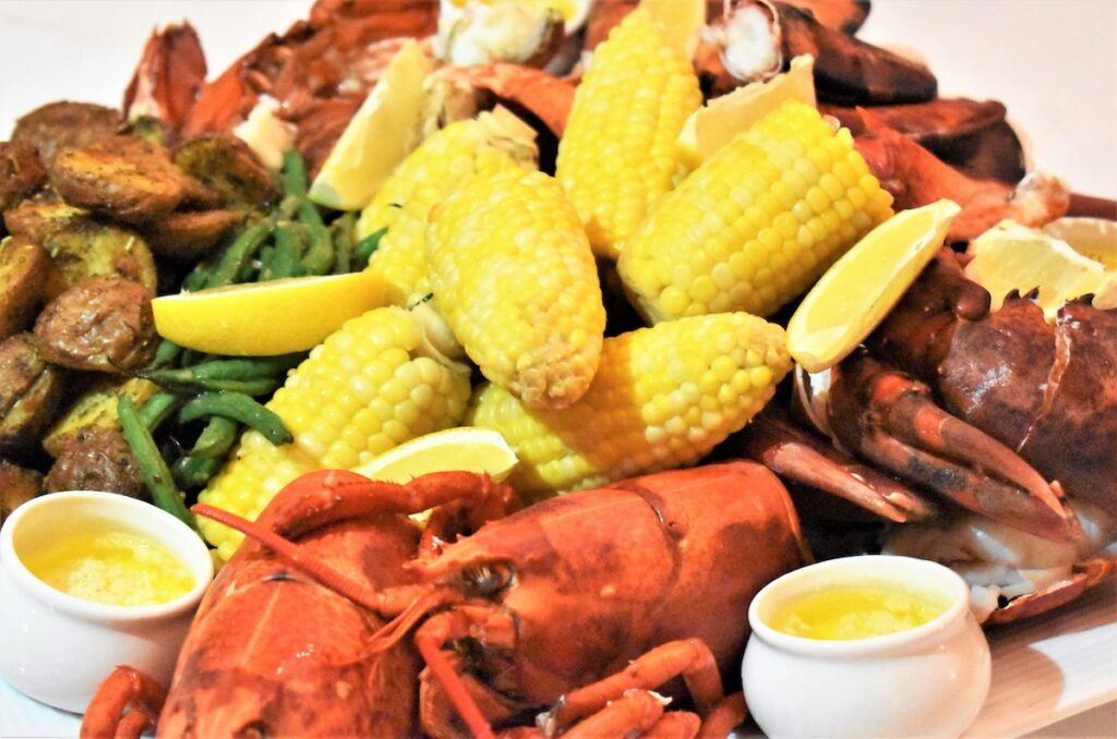 Lobster Dinner with corn and butter.