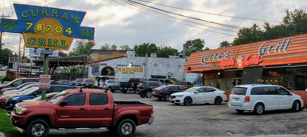 Curra's Grill exterior parking lot Austin, TX