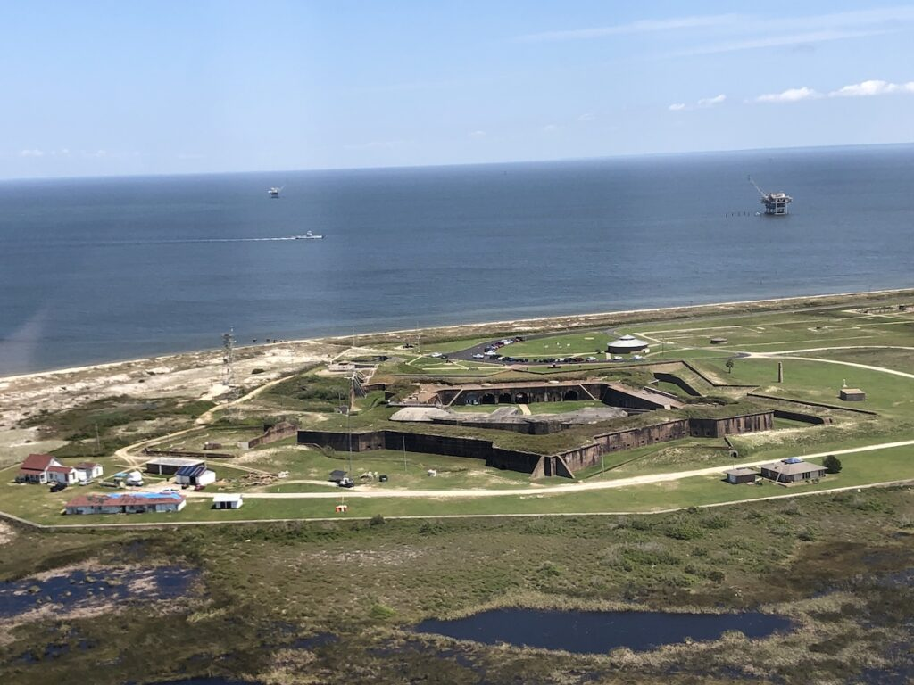 Alabama's Fort Morgan seen from the gyroplane.