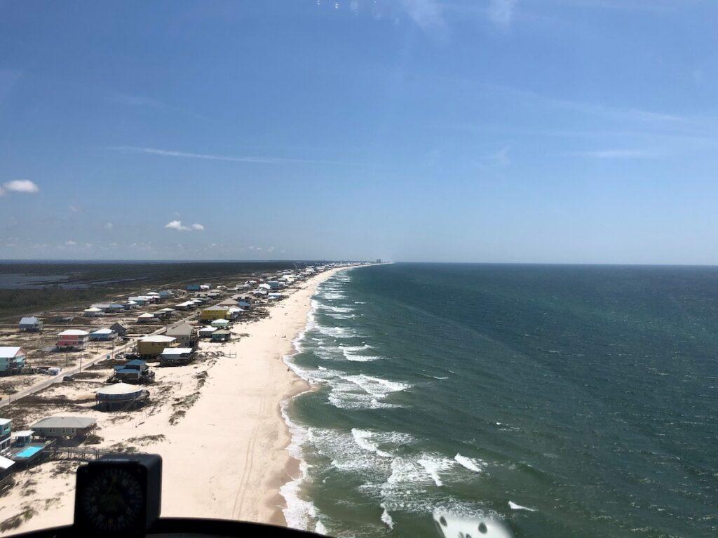 Alabama shoreline from the gyroplane.