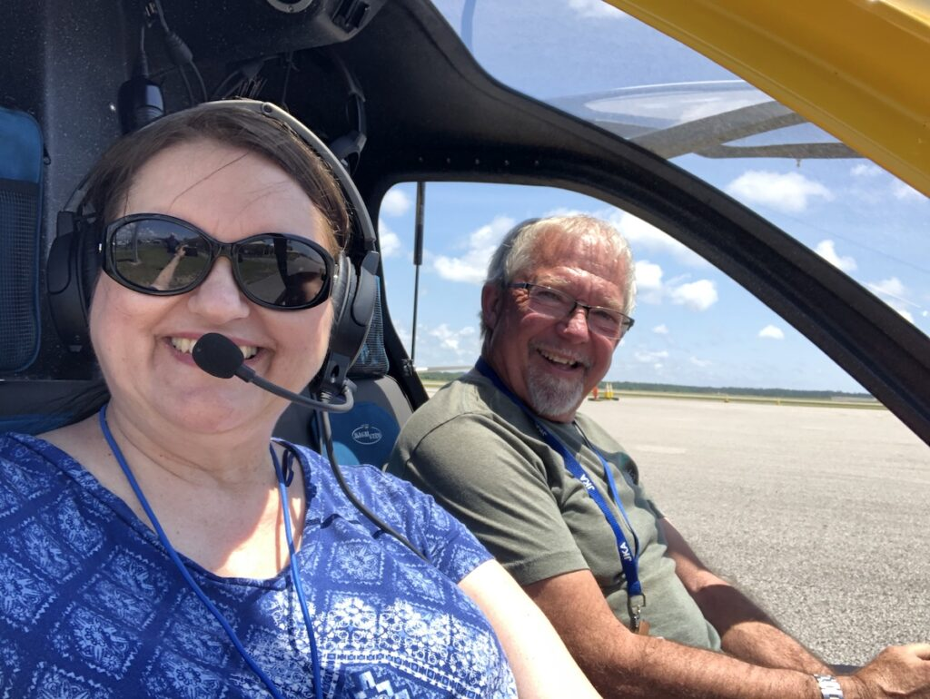 Robin and Mark after their gyroplane flight.