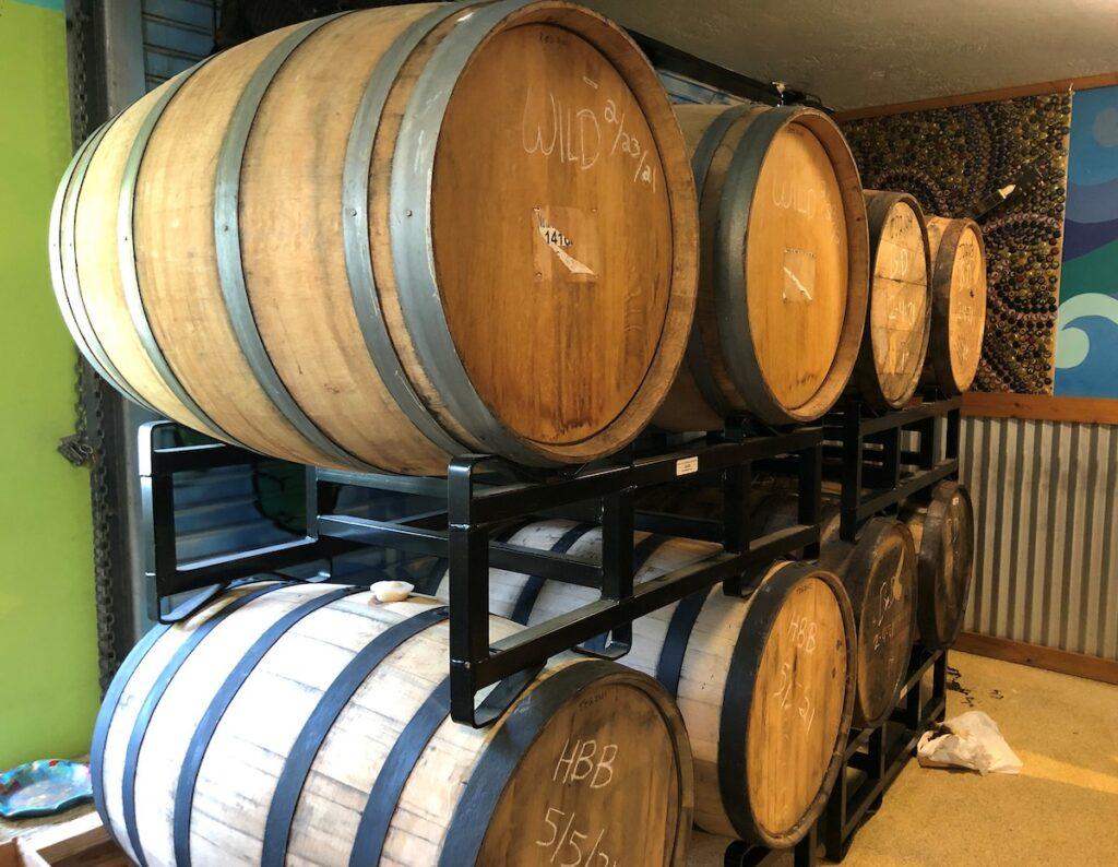 Beer barrels in Storage.