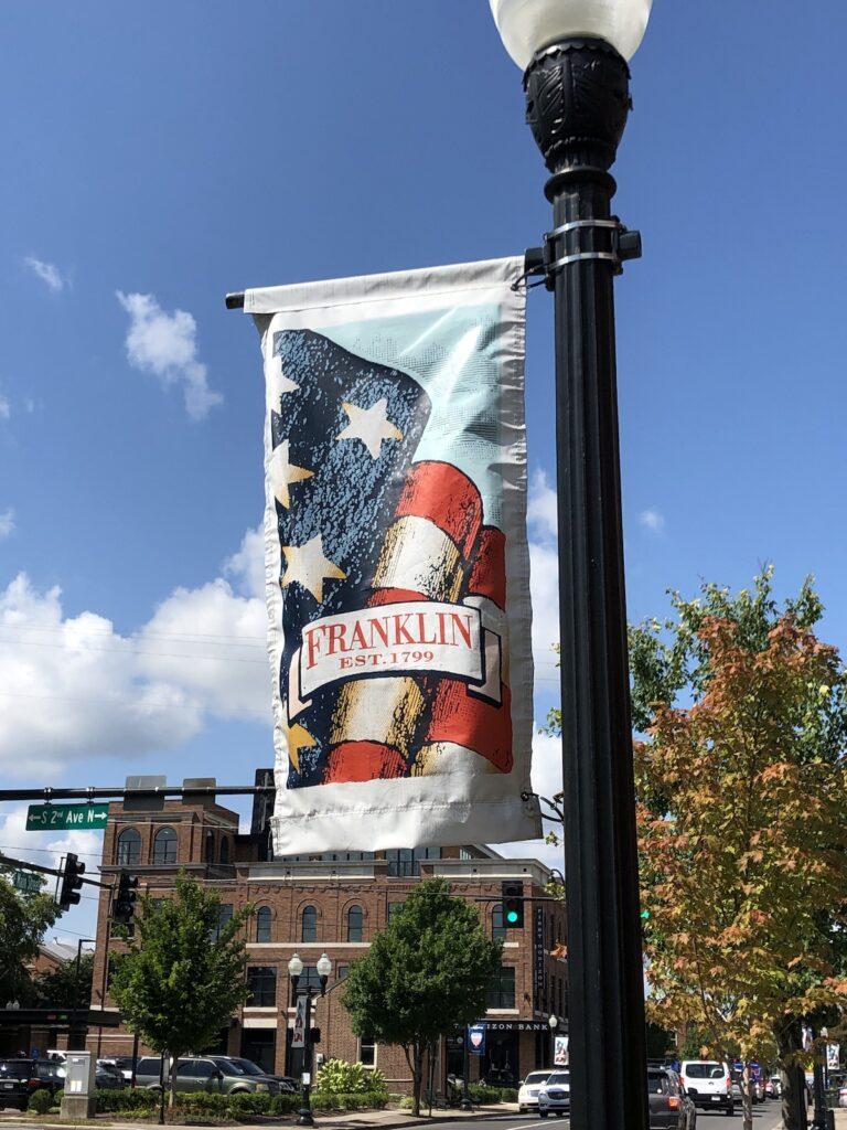 Franklin est. 1799 banner on light post in Franklin, Tennessee.
