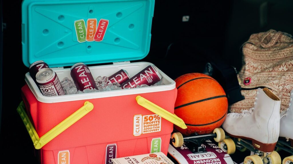 CLEAN Cause energy drinks in cooler