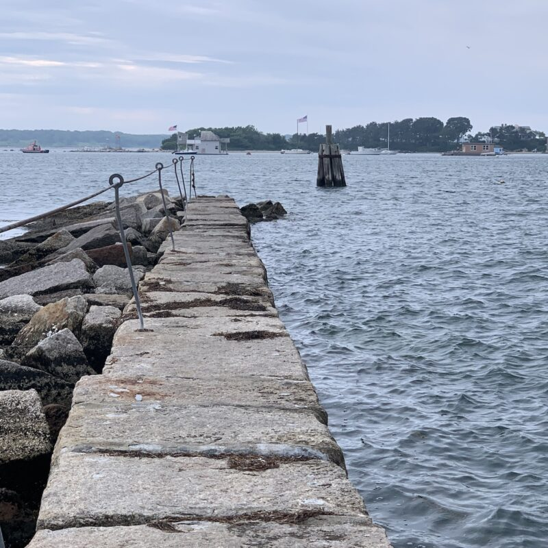 The break wall at Woods Hole in Falmouth, Massachusetts.