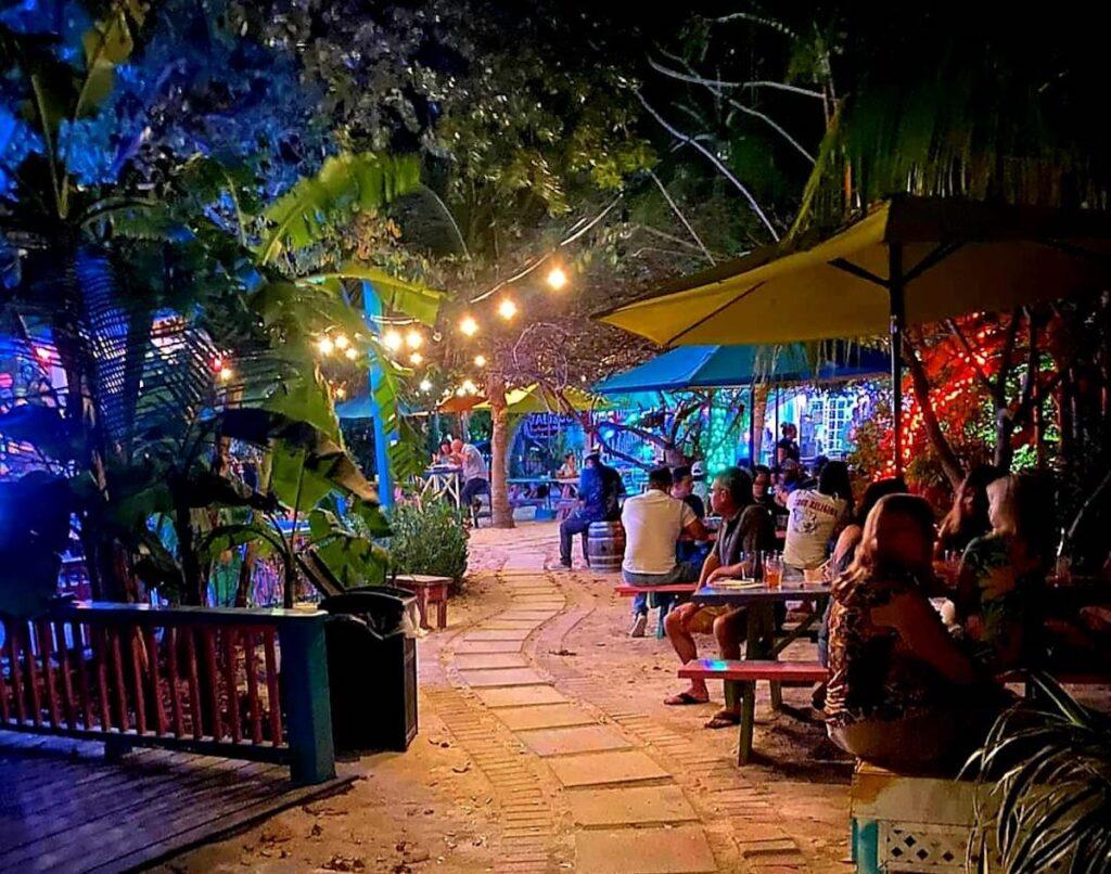 Beer Garden at night.