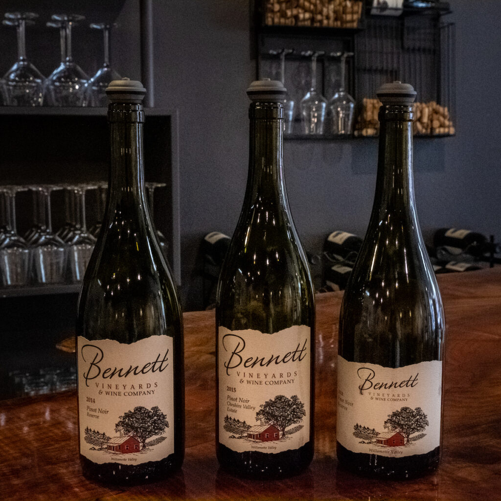 Three bottles of wine at Bennett Vineyards & Wine Company.