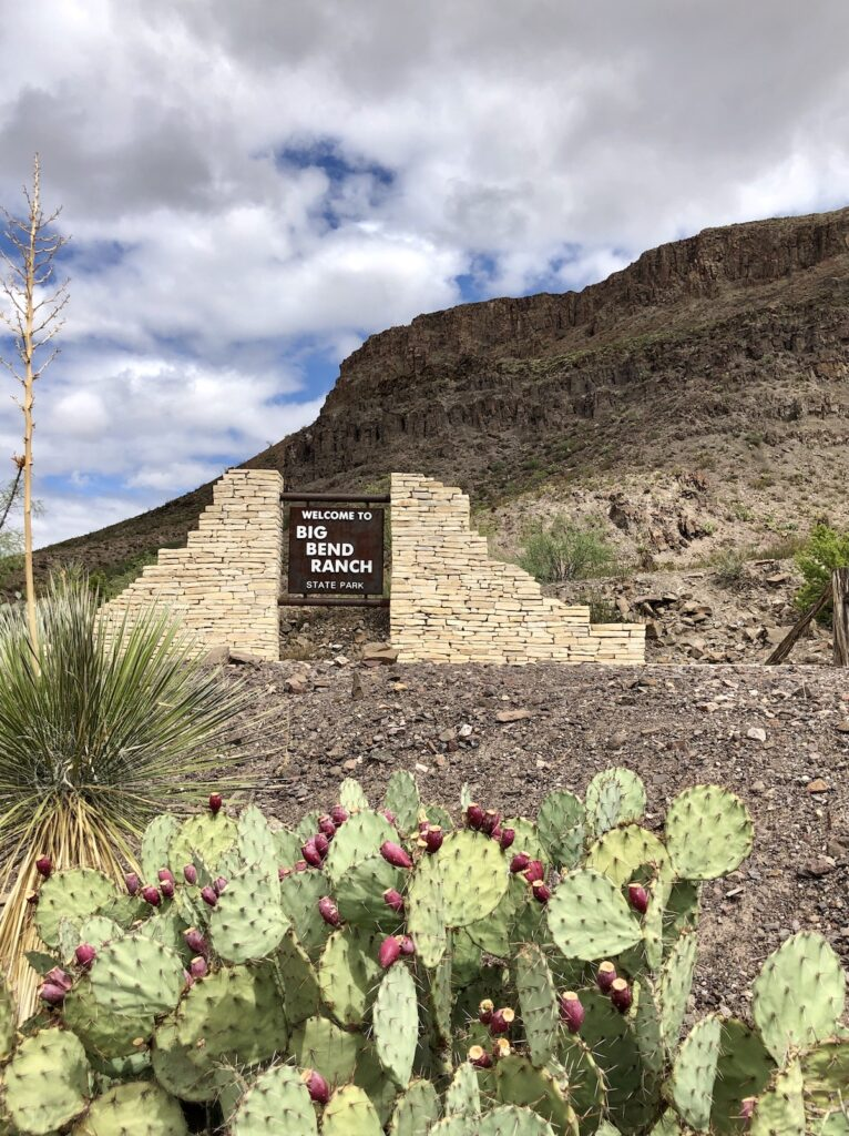 Entrance and sign to Big Bend Ranch State Park.