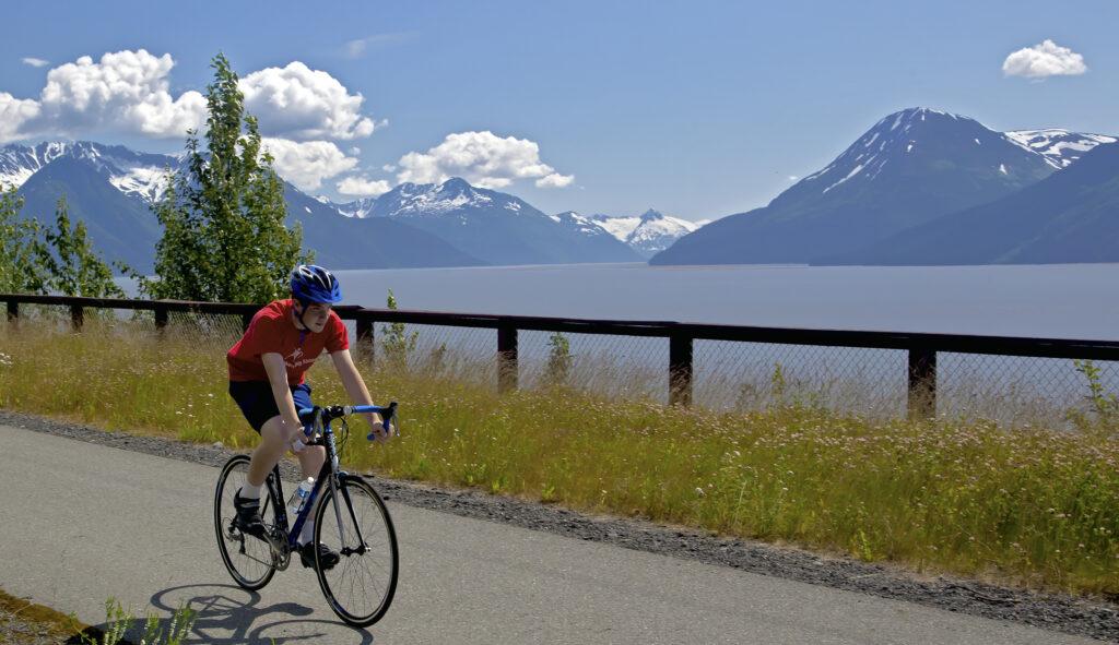 biking the Bird to Gird Trail on Seward Highway in Alaska